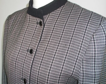 Vintage Jaeger checked jacket 80s black and white checked jacket  with black mandarin collar and cuffs size  large