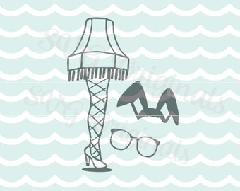 A Christmas Story Leg Lamp SVG Vector File. Hand drawn leg lamp. Cricut Explore and more! Merry Christmas w Bonus bunny ears and glasses!
