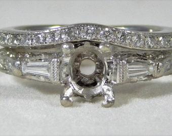 """Vintage Designed """"Edwardian Style"""" Platinum Engagement Ring Setting/Wedding Band Set"""