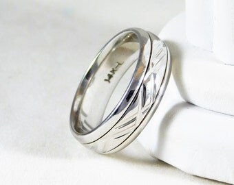 14k White Gold Gents Wedding Band with Modern Design