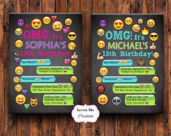 Emoji Birthday Invitation, Emoji Invite, Girl, Personalized, Smiley Face, Emoticons, Iphone, Text, Boy, Teen, Emoji Theme Birthday Party
