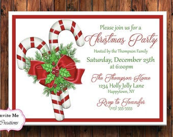 Christmas Party Invitation, Holiday Party Invitation, Christmas Invite, Candy Cane Invitaiton, Holly Invite, Birthday Invitation, Christmas