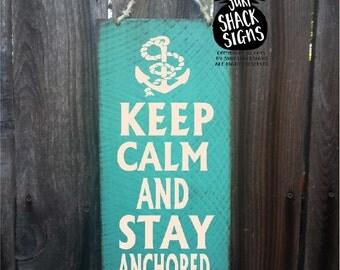 anchor decor, Keep Calm And Stay Anchored, Keep Calm Sign, Anchor Decoration, anchor decor nautical, beach house decor, beach sign, 68