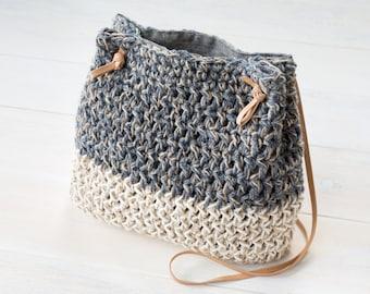 Crochet Grey and Natural Color Block Bucket Bag