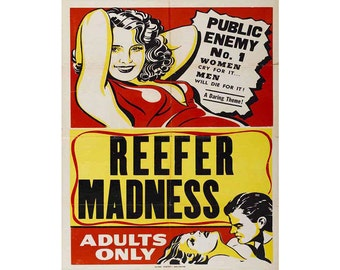 Reefer Madness Movie Vintage Enamel Metal TIN SIGN Wall Plaque