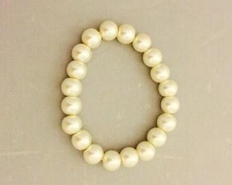 Pearl Stretch Bracelet- 8-9mm Faux Pearls