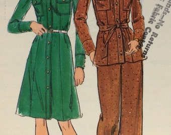Butterick 3857 vintage 1970's misses dress, top and pants sewing pattern size 18 bust 40 waist 32