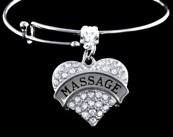 Massage Bracelet Crystal Heart Massage Charm Bracelet Massage Jewelry Massage Charm