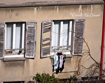 "PARIS TRAVEL PHOTOGRAPHY ~ Laundry Day ~ French Architecture ~ Fine Art Photography  ~ Wall art ~ ""I Love Paris ..."" Series"