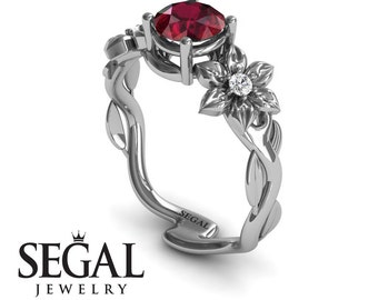 Unique Engagement Ring White Gold Ruby Engagement Ring Nature Inspired Ring Floral Ring Art Deco Ring Unique Engagement Ring - Julia