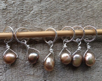 Pewter Pink Freshwater Pearl & Sterling Silver Stitch Markers for Knitting,Set of 6,Knitting Notions, Gift for Knitter