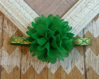 Green flower headband, green and gold headband, green headband, baby headbnd, toddler headband, girls headband, gold and green headband