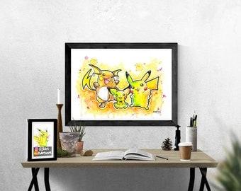 Original - Pikachu Family Watercolor Painting by J2Art 'Pokemon' ( A4 PHOTO PRINT) Pichu & Raichu