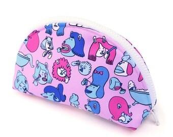 Cute illustrated Pink Make Up Bag, fun print wash bag, colourful make up bag, toiletries bag, girls zip bag, cosmetics bag, gifts for her