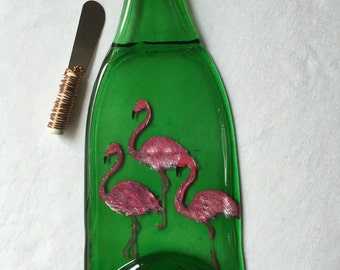 Flock of Flamingos Wine Bottle Cheese Tray Wine Bottle Spoon Rest