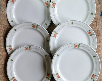 Six Vintage SCHÖNWALD Red & Green Floral Pattern Plates / Bread and Butter / Salad Plates, Made in Germany