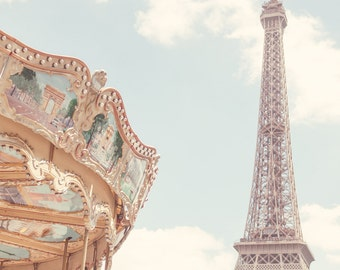 Classic Paris featuring the Eiffel Tower and a traditional Parisian Carousel - Paris, France