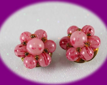 Vintage Earrings Bead Cluster Earrings Pink Faux Pearl Earring, Clip-on Earrings