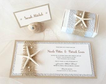 Beach Sea Star/Starfish Invitation with Burlap and Pearls, Free Matching Envelope {MARISTELLA}