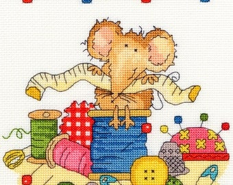 Bothy Threads Sewing Mouse Counted Cross Stitch Kit - 18cm x 18cm