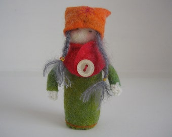 Waldorf inspired felt doll. Steiner doll, Pocket doll. Wet felt, Child's Toy, Gentle Play. LS3