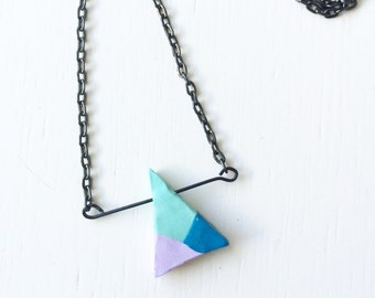 Geometric Colorblock Polymer Clay Necklace
