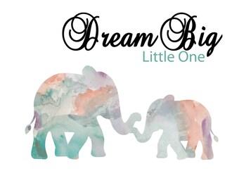 Dream Big Little One - Nursery Prints - Nursery Wall Art - Gender neutral Wall Decor - Dream Big Nursery Decor - 8x10 -11 x14 inches prints