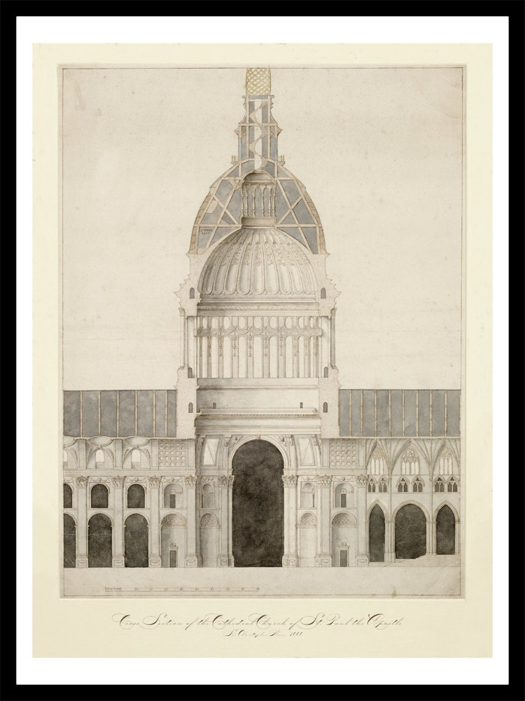 Cathedral of st paul vintage architectural print for Print architectural drawings