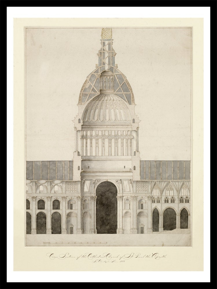 Cathedral of st paul vintage architectural print for Printing architectural drawings