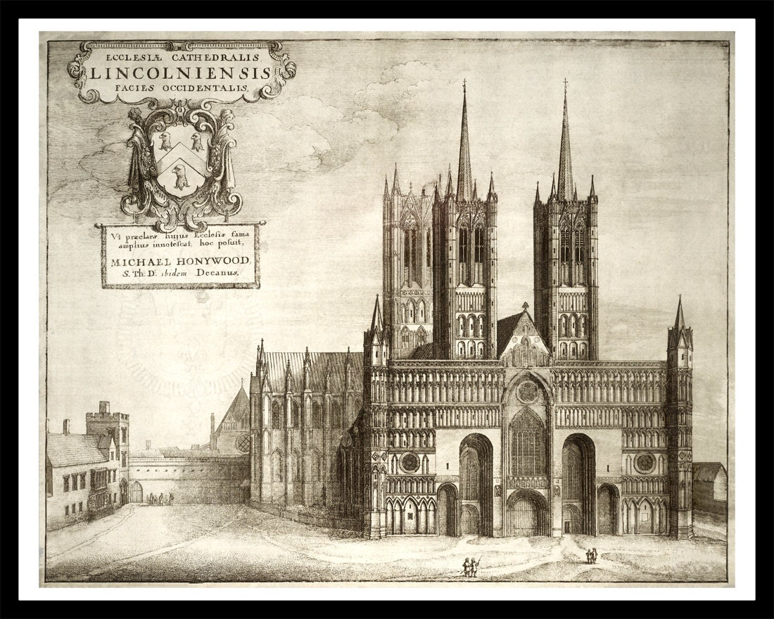 Lincoln cathedral vintage architectural print for Print architectural drawings