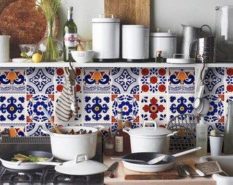 Tile Decals - Tiles for Kitchen/Bathroom Back splash - Floor decals - Traditional Mexican Mix Vinyl Tile Sticker Pack of 24