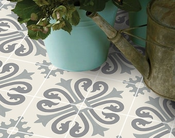 Vinyl Floor Tile Sticker - Floor decals - Carreaux Ciment Encaustic Alhambra Tile Sticker Pack in Thistle