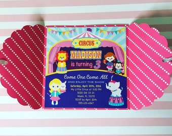 Carnival Invitations / Circus Birthday Invitations / Pink Circus Party Invitations / Hot Pink Circus Invites Girl