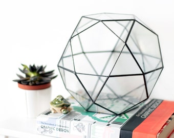 Large Glass Terrarium Container, Geometric Indoor Planter, Stained Glass Terrarium, Moss Terrarium, Glass Bowl, Modern Succulent Planter