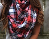 Multicolor Plaid Blanket Scarf Fringe Shawl Wrap Red Blue Yellow White Green |
