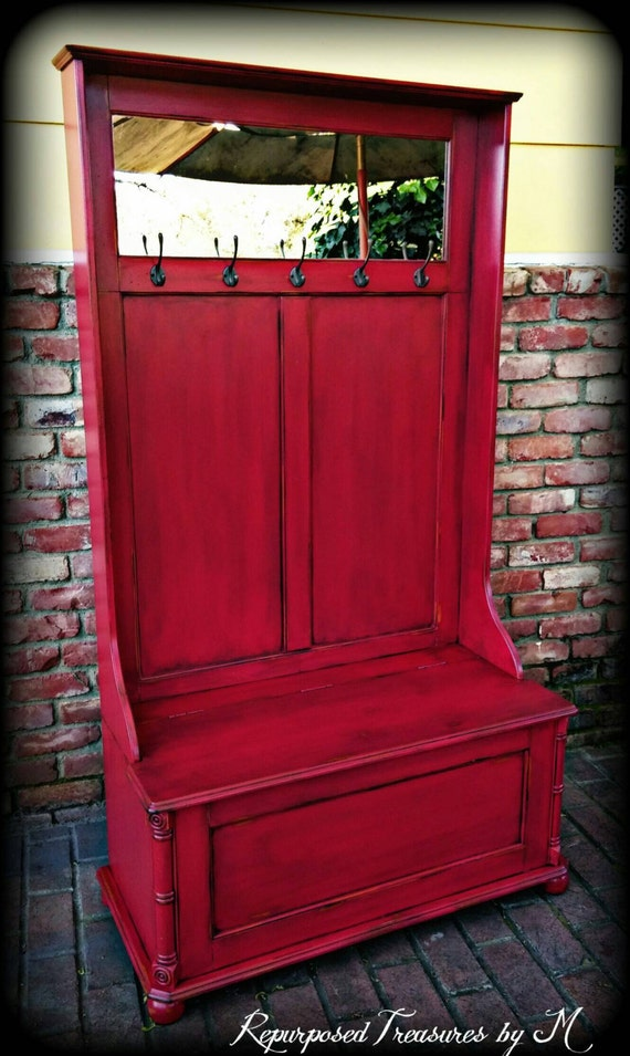 Red Foyer Bench : Hall tree bench entryway shabby chic by