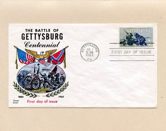 US First Day of Issue Cover Battle of Gettysburg Centennial 1180 Stamp FDC Gettysburg PA July 1 1963 Beautiful Fluegel Cachet - 6554P