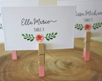 Wedding Place Cards. Placecards. Floral Place Cards. Flower. Spring. Summer. Wedding Decorations. Custom Place Cards. Baby Shower. Party