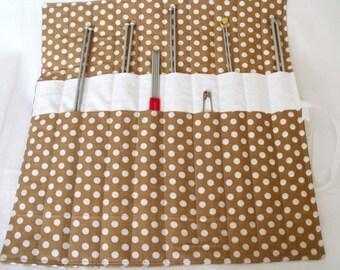 knitting organizer, knitting needle roll, knitting needle holder, needle storage, polka dot cotton fabric