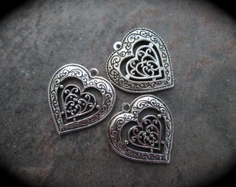 Ornate Filigree heart charms Package of 3 double sided charms