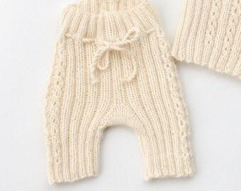 Baby Alpaca knit shorts - Hand knit baby pants organic alpaca Baby - Newborn Girl Boy