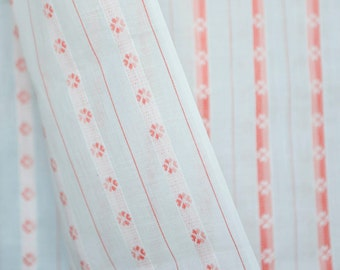 gorgeous high quality vintage semi-sheer white cotton w pink / coral  embroidered stripes 50's