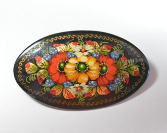 Vintage Black Painted Russian Pin Brooch Beautiful Painted Floral Design Black Background Lacquer Finish Russian Pin Russian Jewelry