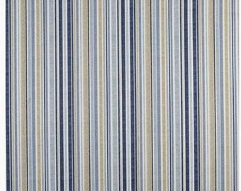 New Prestigious Textiles curtain interior furnishing fabric 'Spinnaker' Periwinkle Stripe Ticking Design Mustard Blue White Green Yellow