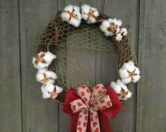 Valentine wreath/ cottonball wreath/ Valentine cottonball wreath/ farmhouse wreath/ country wreath/ rustic wreath/ rustic Valentine's Day