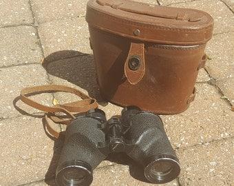 World War II US ARMY M3 6x30 Binoculars Nash-Kelvinator 1942 Vintage M17 Leather Carrying Case