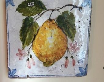 Ceramic Lemon Tile * Mattonella Quadretto con Limone
