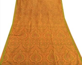 KK Pure Silk Saree Saffron Printed Sari Craft Fabric 5 Yard
