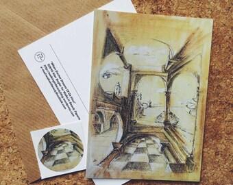 Art Postcard When Escher Dreamt of Da Vinci