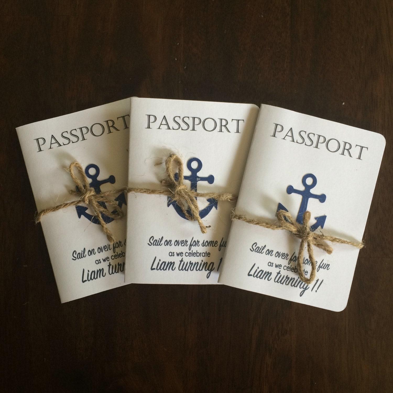 Passport Nautical Birthday Invitations Anchor By
